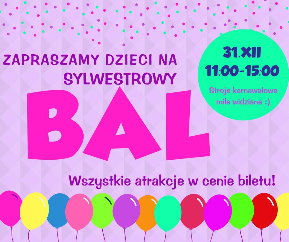 Zapraszamy dzieci na sylwestrowy bal do Family Park Bydgoszcz. 31 grudnia w godzinach 11:00-15:00. Stroje karnawałowe mile widziane. Wszystkie atrakcje w cenie biletu.