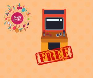 """Obraz przedstawia grafikę automatu do gier z napisem """"free"""" oraz logo Family Park"""