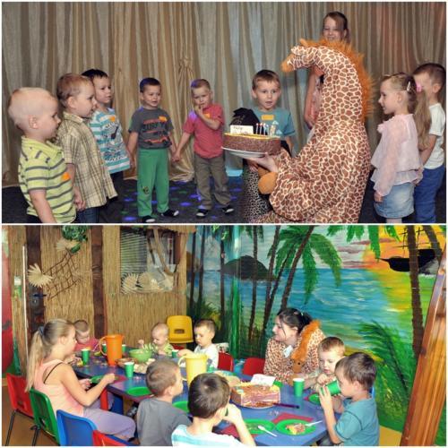 Zdjęcie przedstawiające dzieci bawiące się z animatorem przebranym za żyrafę podczas przyjęcia urodzinowego w Dżungli.